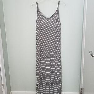 NY & Co Maxi Dress XL Striped Gray White